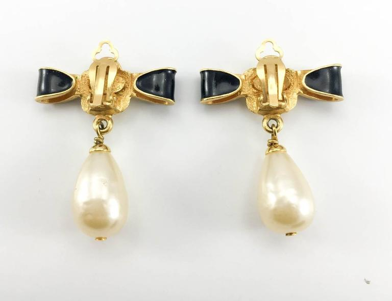 Chanel Gold-Plated Camellia, Enameled Black Bow and Pearl Drop Earrings - 1993 6