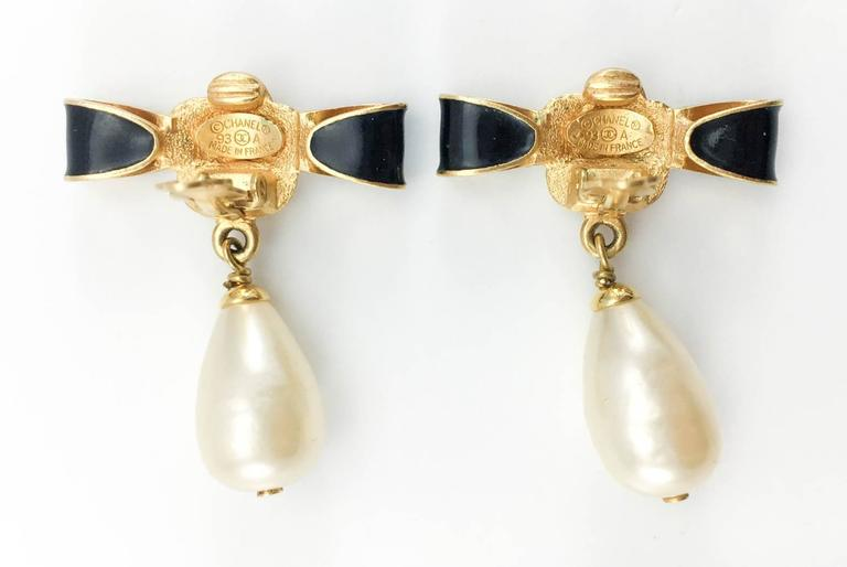 Chanel Gold-Plated Camellia, Enameled Black Bow and Pearl Drop Earrings - 1993 7