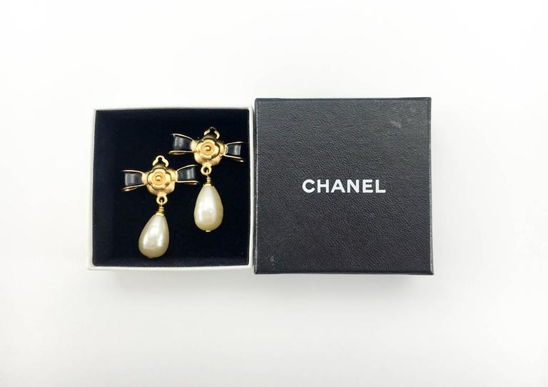 Chanel Gold-Plated Camellia, Enameled Black Bow and Pearl Drop Earrings - 1993 8