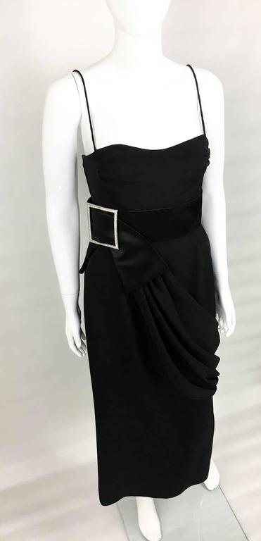Valentino Silk-Blend Black Evening Dress With Buckle Details - 21st Century In Excellent Condition For Sale In London, Chelsea