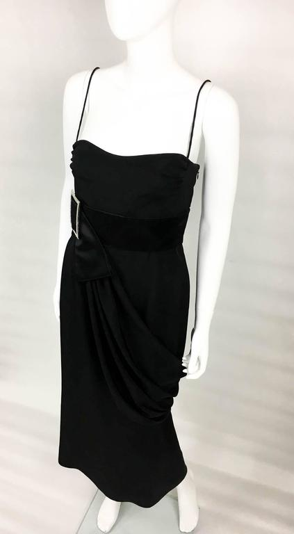 Women's Valentino Silk-Blend Black Evening Dress With Buckle Details - 21st Century For Sale