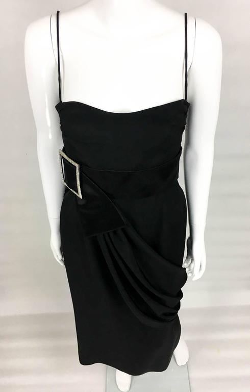 Valentino Silk-Blend Black Evening Dress With Buckle Details - 21st Century For Sale 3