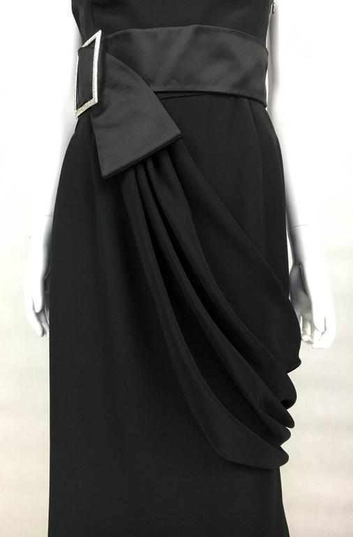 Valentino Silk-Blend Black Evening Dress With Buckle Details - 21st Century For Sale 4