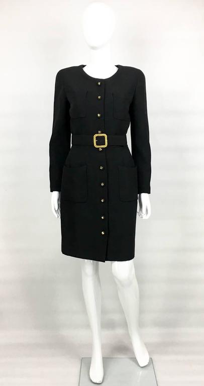 Chanel Belted Black Wool Dress With Logo Buttons - Circa 1992 2