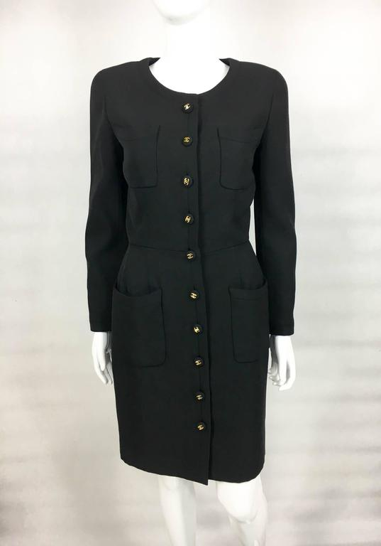 Chanel Belted Black Wool Dress With Logo Buttons - Circa 1992 3