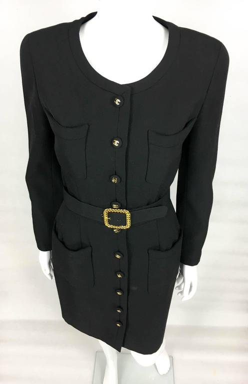 Chanel Belted Black Wool Dress With Logo Buttons - Circa 1992 4
