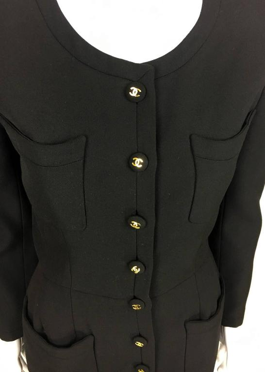 Chanel Belted Black Wool Dress With Logo Buttons - Circa 1992 5
