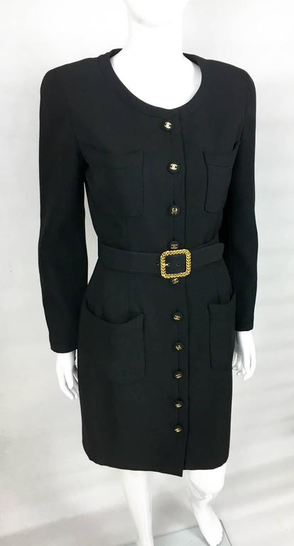 Chanel Belted Black Wool Dress With Logo Buttons - Circa 1992 6
