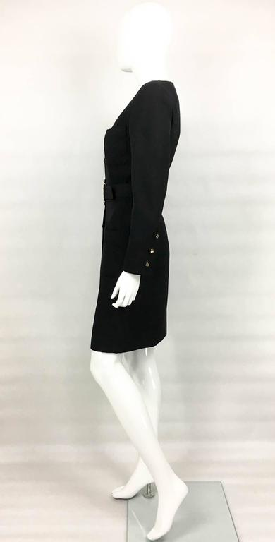 Chanel Belted Black Wool Dress With Logo Buttons - Circa 1992 7