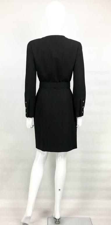 Chanel Belted Black Wool Dress With Logo Buttons - Circa 1992 8