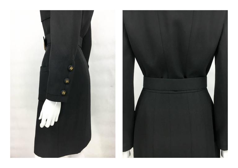 Chanel Belted Black Wool Dress With Logo Buttons - Circa 1992 9