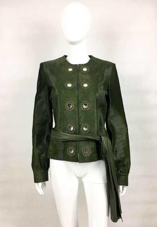 Black Yves Saint Laurent Moss Green Ponyskin Jacket With Eyelets - 2010s For Sale