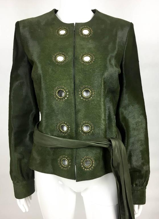 Yves Saint Laurent Moss Green Ponyskin Jacket With Eyelets - 2010s In New Never_worn Condition For Sale In London, Chelsea