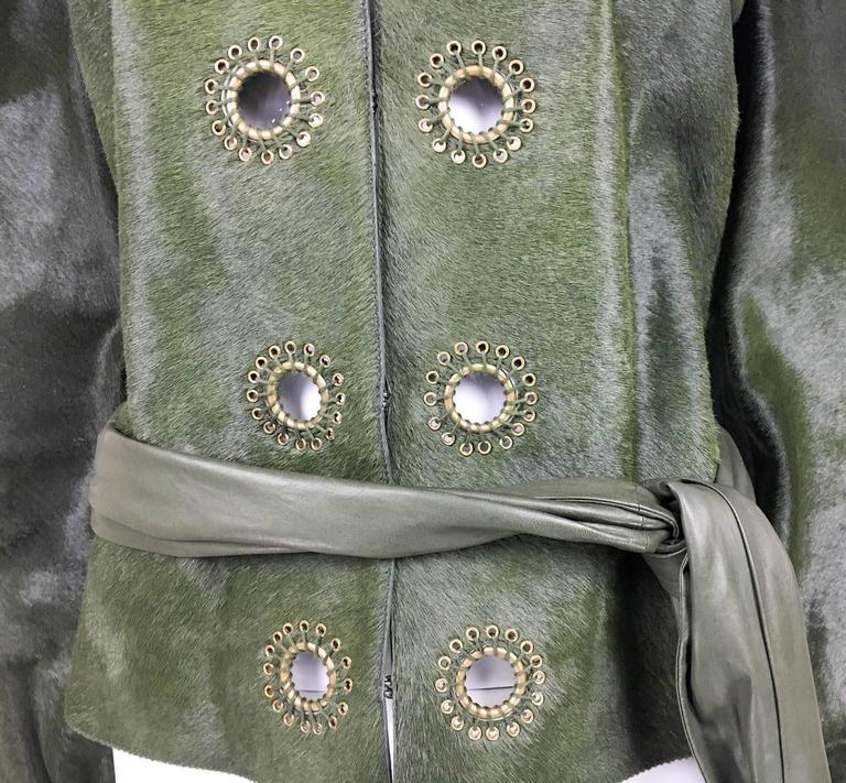 Yves Saint Laurent Moss Green Ponyskin Jacket With Eyelets - 2010s 5