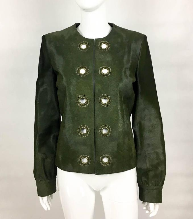 Yves Saint Laurent Moss Green Ponyskin Jacket With Eyelets - 2010s For Sale 1
