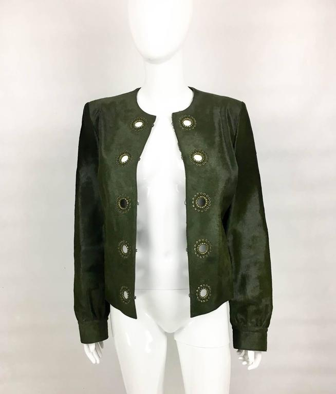 Yves Saint Laurent Moss Green Ponyskin Jacket With Eyelets - 2010s For Sale 2