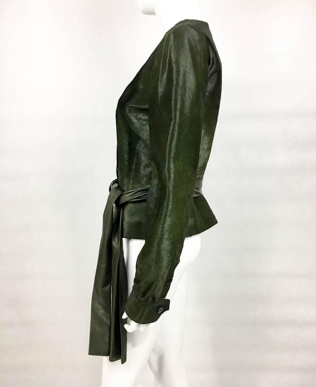 Yves Saint Laurent Moss Green Ponyskin Jacket With Eyelets - 2010s For Sale 3