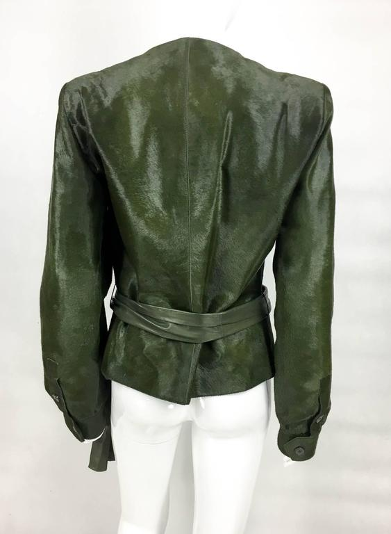 Yves Saint Laurent Moss Green Ponyskin Jacket With Eyelets - 2010s For Sale 4