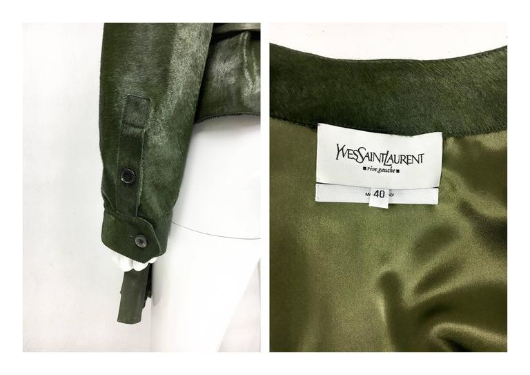 Yves Saint Laurent Moss Green Ponyskin Jacket With Eyelets - 2010s For Sale 5