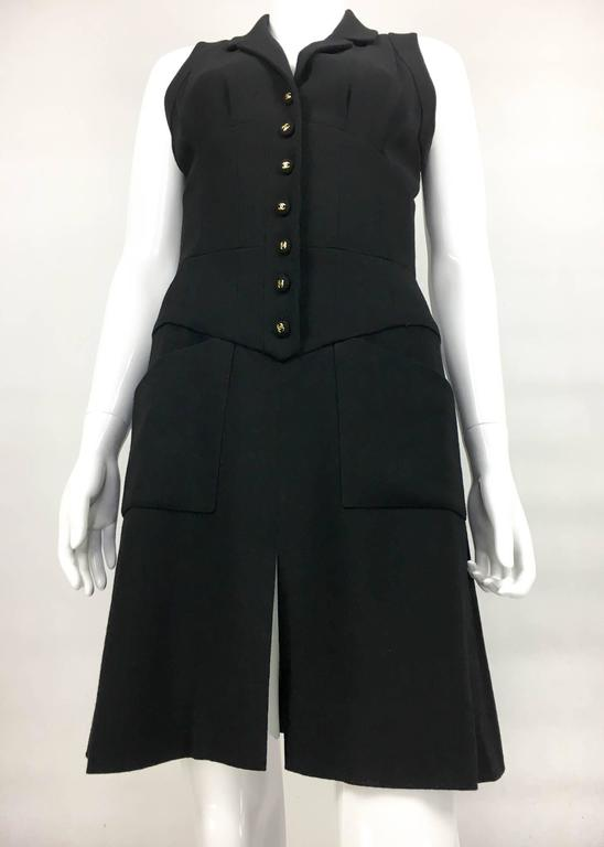 Chanel Black Waistcoat-Style Wool Dress With Logo Buttons - 1990s 4