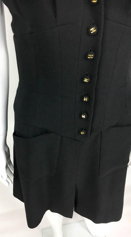 Chanel Black Waistcoat-Style Wool Dress With Logo Buttons - 1990s 6