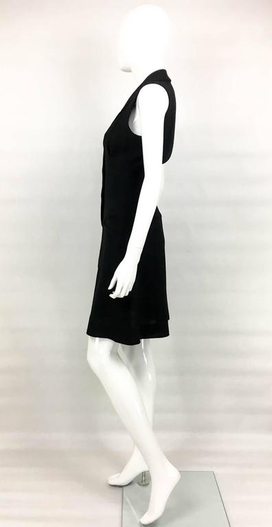 Chanel Black Waistcoat-Style Wool Dress With Logo Buttons - 1990s 7