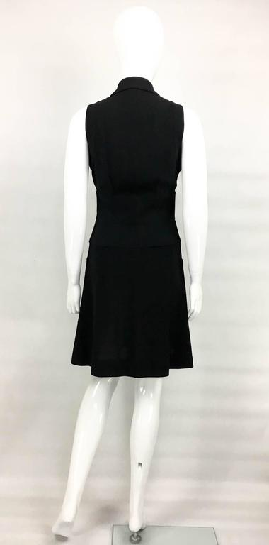 Chanel Black Waistcoat-Style Wool Dress With Logo Buttons - 1990s 8