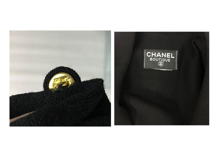 Chanel Black Waistcoat-Style Wool Dress With Logo Buttons - 1990s 10