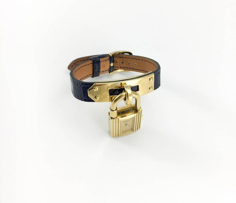 Hermes Gold Plated Kelly Watch With Midnight Blue