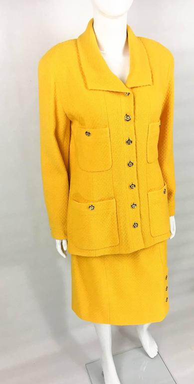 Women's Chanel Yellow Boucle Wool Skirt Suit - Circa 1982 For Sale