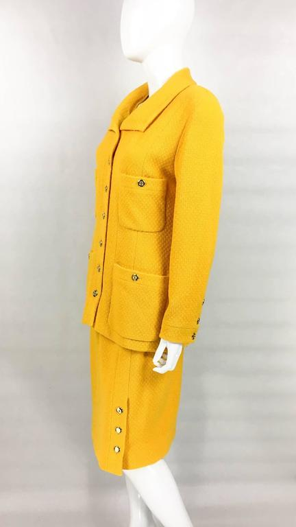 Chanel Yellow Boucle Wool Skirt Suit - Circa 1982 For Sale 1