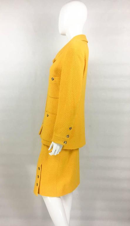 Chanel Yellow Boucle Wool Skirt Suit - Circa 1982 For Sale 2