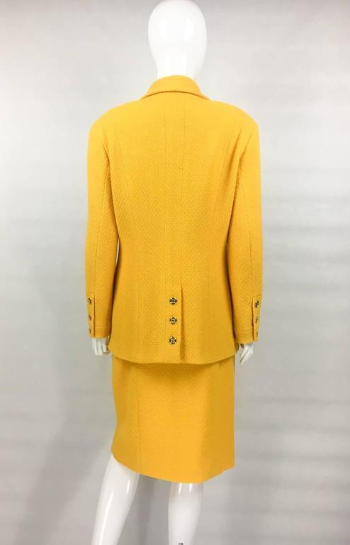 Chanel Yellow Boucle Wool Skirt Suit - Circa 1982 For Sale 3