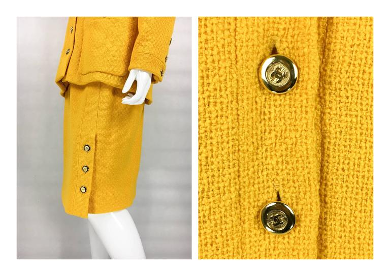 Chanel Yellow Boucle Wool Skirt Suit - Circa 1982 For Sale 4