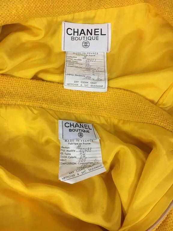 Chanel Yellow Boucle Wool Skirt Suit - Circa 1982 10