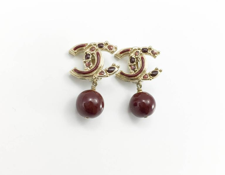 Chanel Paris-Bombay Collection Red Gripoix Dangling Earrings - Circa 2012 For Sale 1