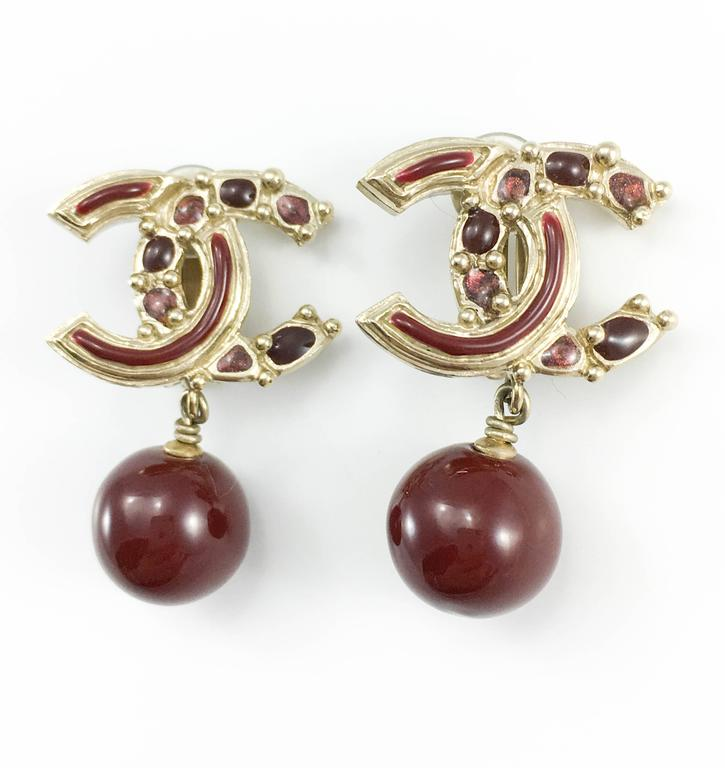Chanel Paris-Bombay Collection Red Gripoix Dangling Earrings - Circa 2012 For Sale 2