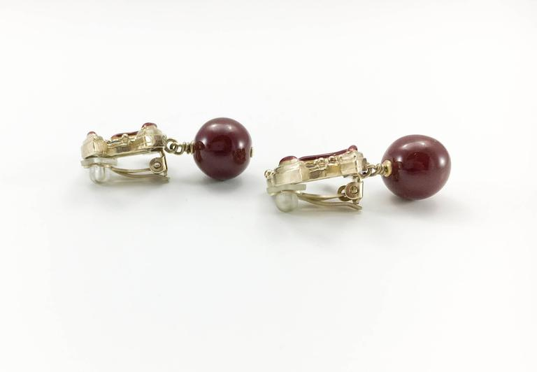 Chanel Paris-Bombay Collection Red Gripoix Dangling Earrings - Circa 2012 9