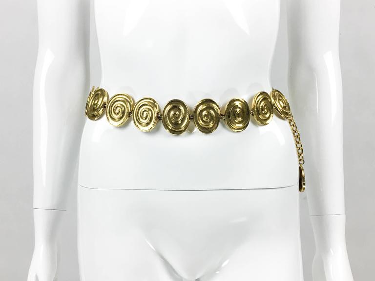 Orange Yves Saint Laurent Gold-Plated 'Spiral' Belt / Necklace - 1980's For Sale