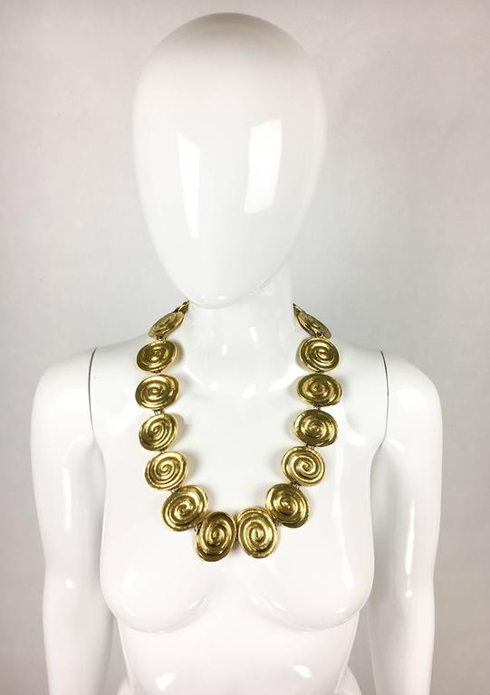 Women's Yves Saint Laurent Gold-Plated 'Spiral' Belt / Necklace - 1980's For Sale