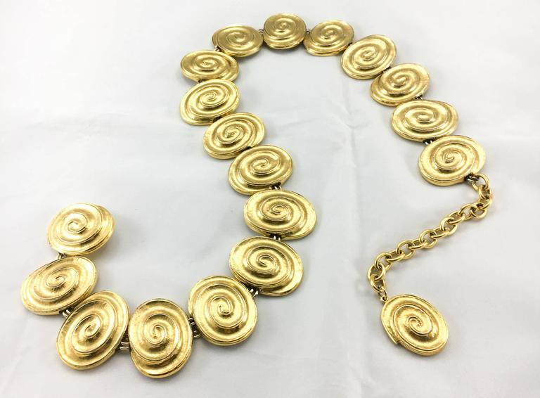 Yves Saint Laurent Gold-Plated 'Spiral' Belt / Necklace - 1980's For Sale 2