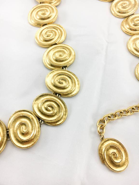 Yves Saint Laurent Gold-Plated 'Spiral' Belt / Necklace - 1980's For Sale 4