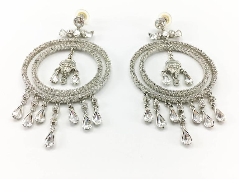 Versace Crystal Embellished Chandelier Earrings with the 'Medusa's Head' In Excellent Condition For Sale In London, Chelsea