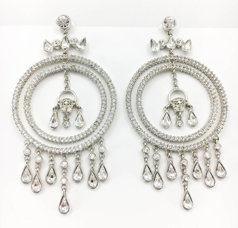 Women's Versace Crystal Embellished Chandelier Earrings with the 'Medusa's Head' For Sale