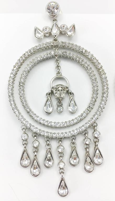 Versace Crystal Embellished Chandelier Earrings with the 'Medusa's Head' For Sale 1