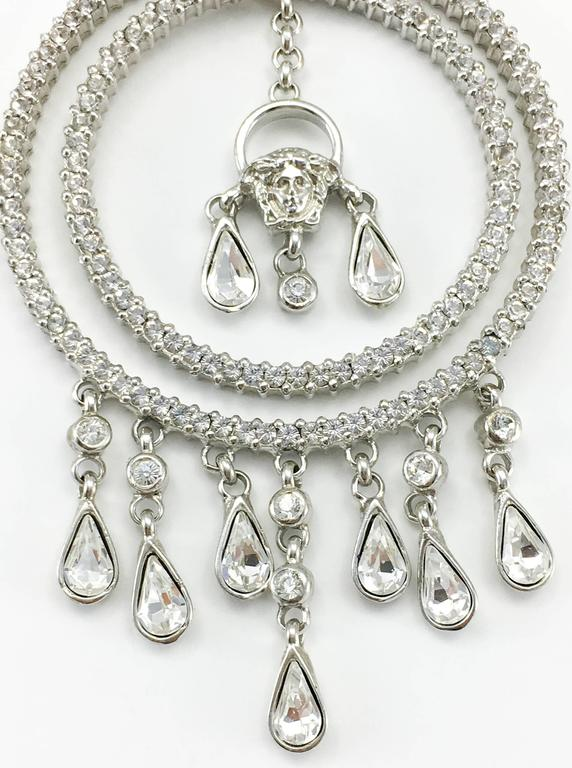 Versace Crystal Embellished Chandelier Earrings with the 'Medusa's Head' For Sale 3