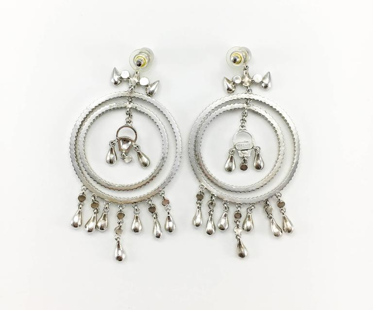 Versace Crystal Embellished Chandelier Earrings with the 'Medusa's Head' For Sale 4