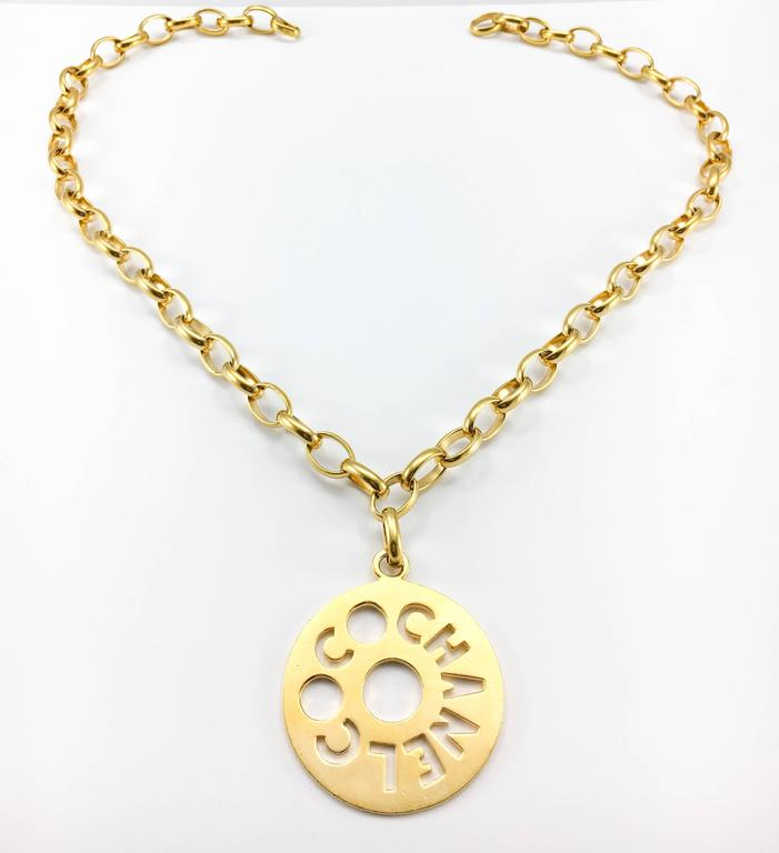 Chanel Chunky Gold-Tone 'Coco Chanel' Disk Pendant Chain Necklace - 1970's 6