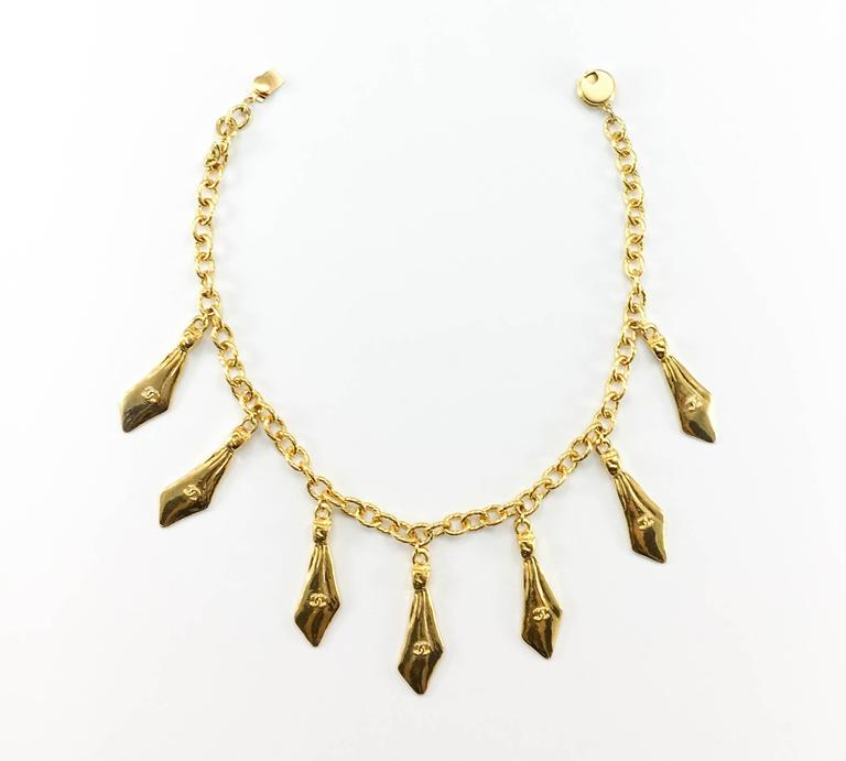1970s Chanel Gilt Ties Chain Necklace 4