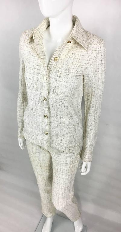 2001 Chanel Runway Off-White Bouclé Trouser Suit With Enamelled Logo Buttons 4